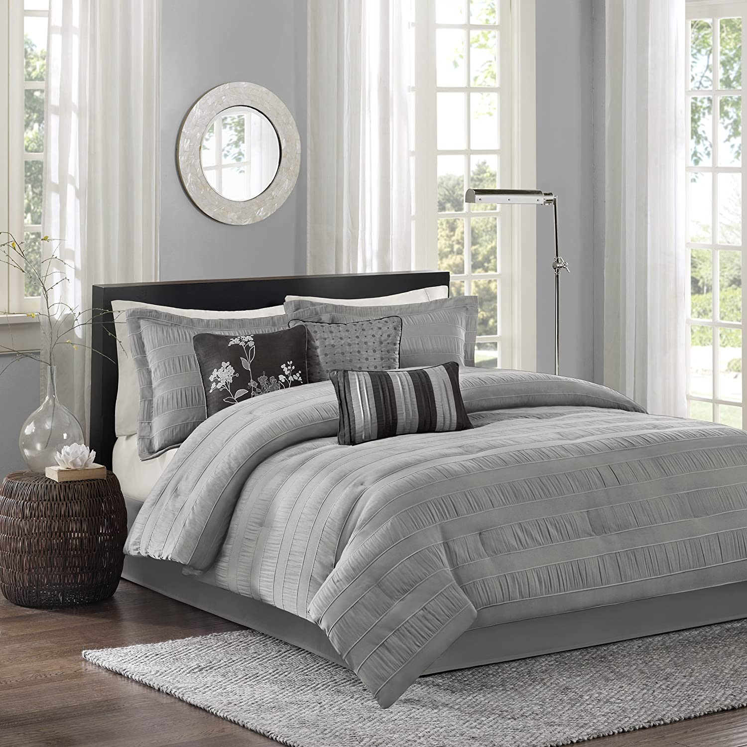 Madison Park Hampton 7 Piece Comforter Set, Queen, Grey MP10-1020