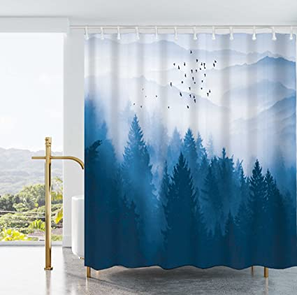 Ao Blare Tree Shower Curtains Fog Pine Trees Mountain Forest Waterproof Polyester Fabric Curtain 72x72Inch