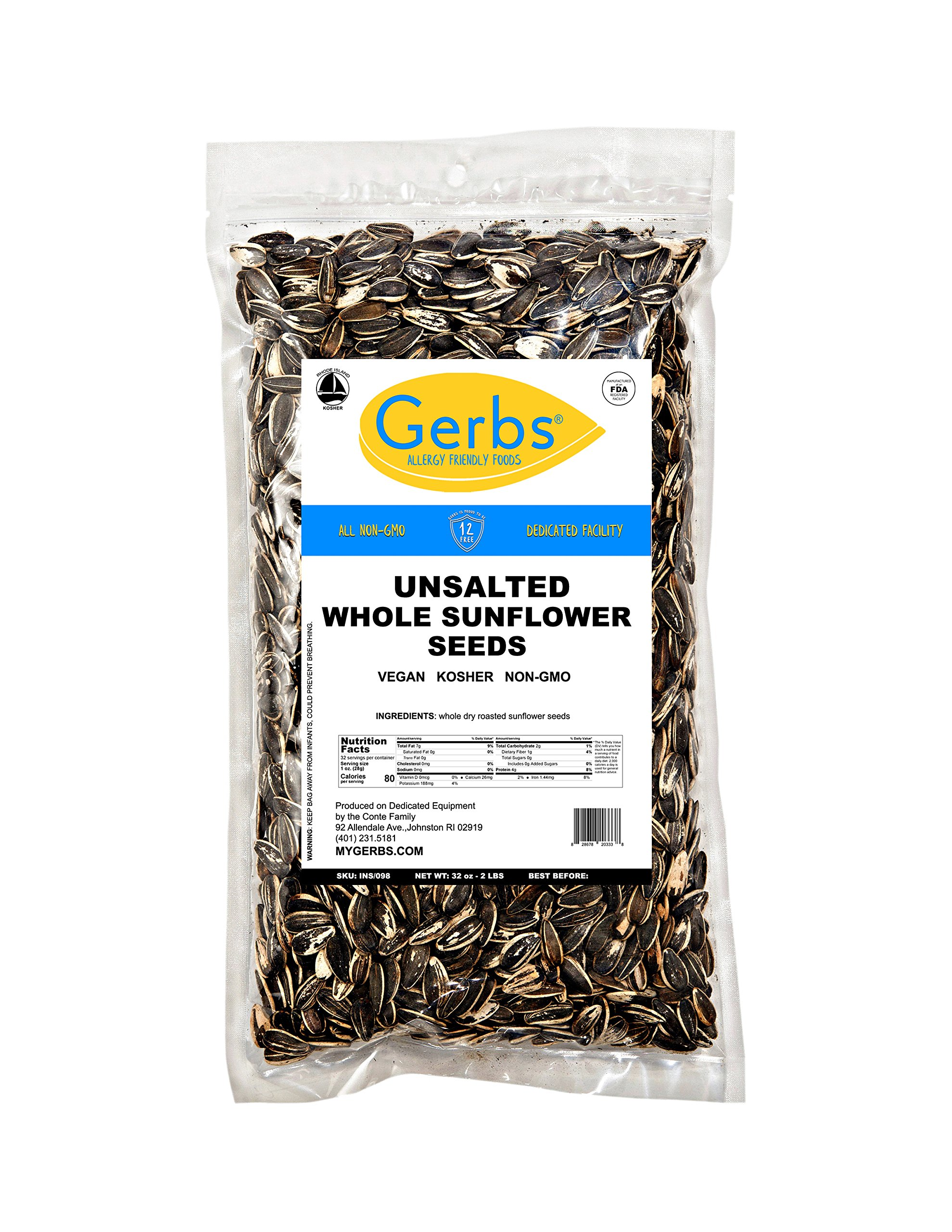 GERBS Unsalted Whole Sunflower Seeds by 2 LBS - Top 12 Food Allergy Free & NON GMO - Vegan & Kosher - In-Shell Dry Roasted Seeds Grown in USA