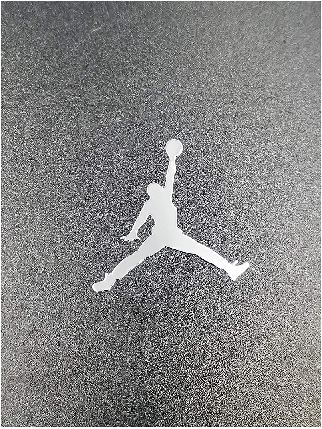 Wallner 2 pcs Metal Adhesive Air Jordan Jumpman Logo Vinyl Sticker Cellphone Laptop case Decal Stickers (Silver, 1.5inch)