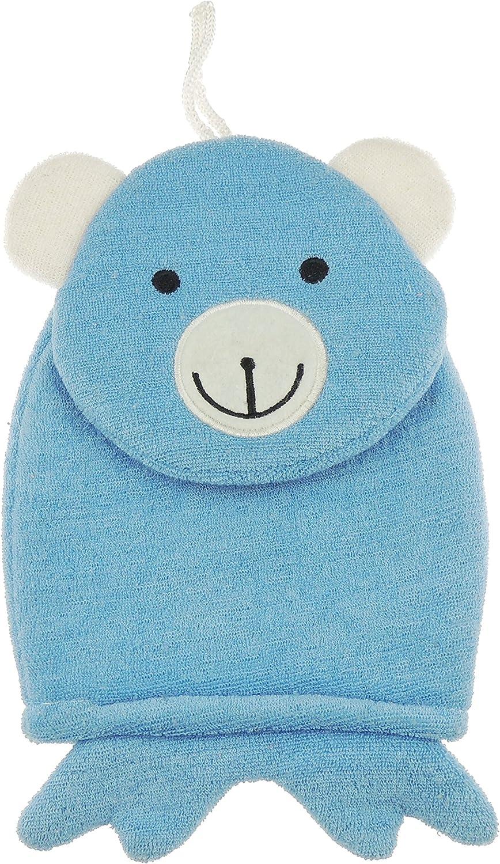 Manopla de baño de algodón para bebé, diseño de animales Blue Bear ...