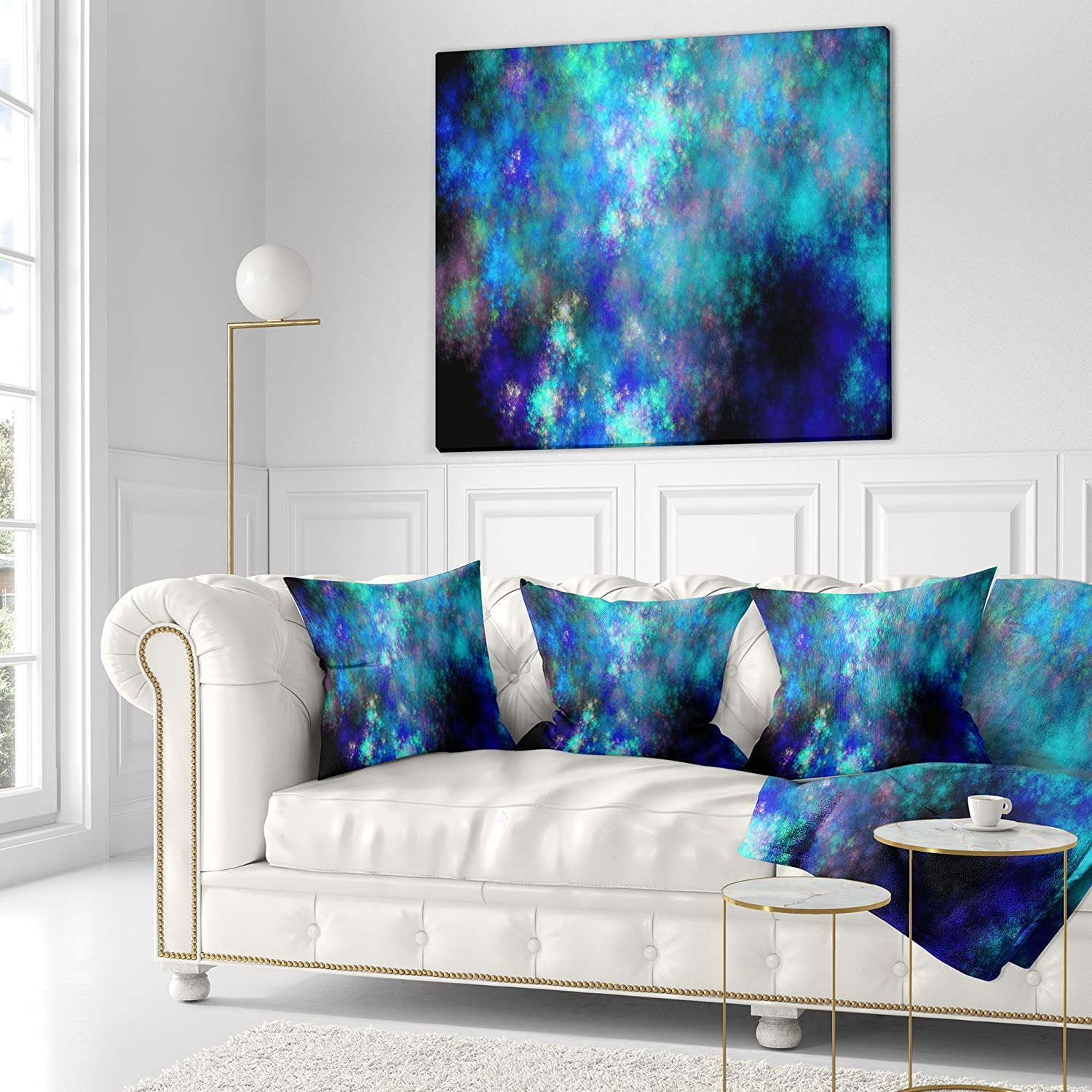 Sofa Throw Pillow 18 x 18 Insert Printed on Both Side Designart CU16216-18-18 Light Blue Starry Fractal Sky Contemporary Cushion Cover for Living Room
