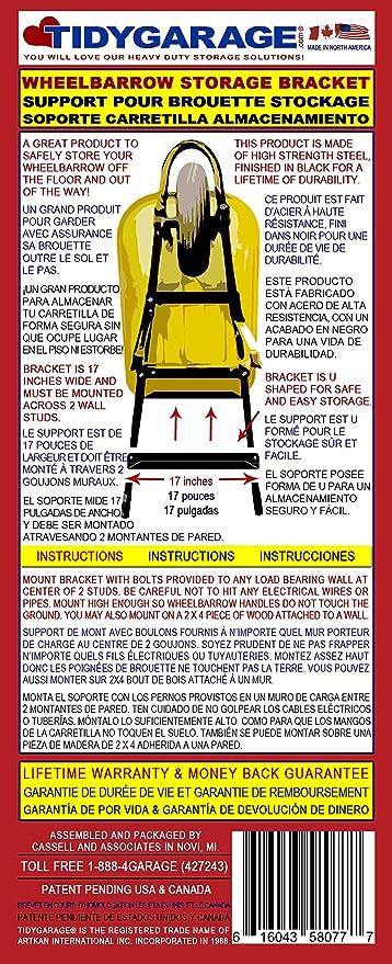 TidyGarage Wheelbarrow Storage Bracket