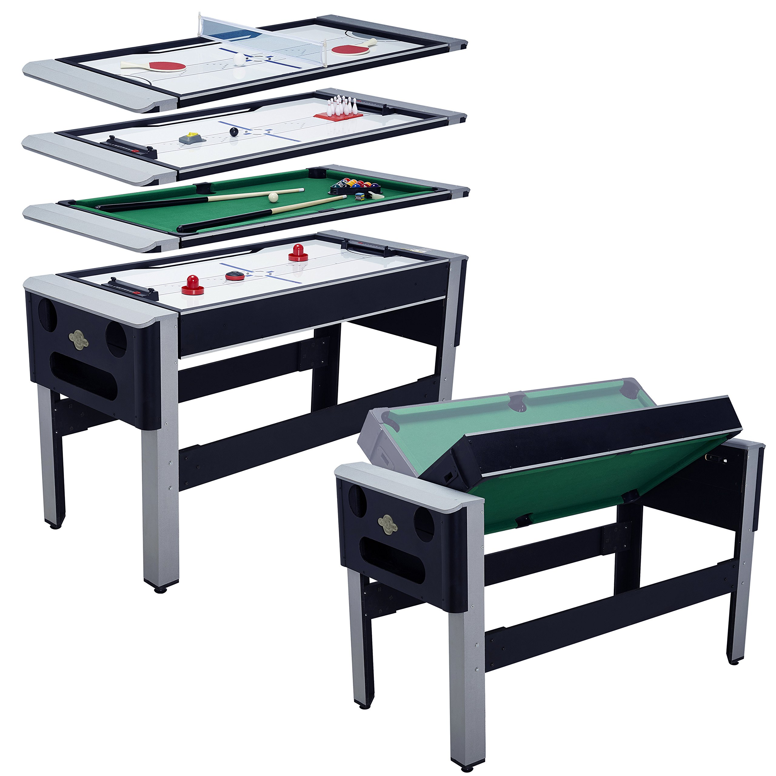 Lancaster 54'' 4 in 1 Pool Bowling Hockey Table Tennis Combo Arcade Game Table by Lancaster Gaming Company