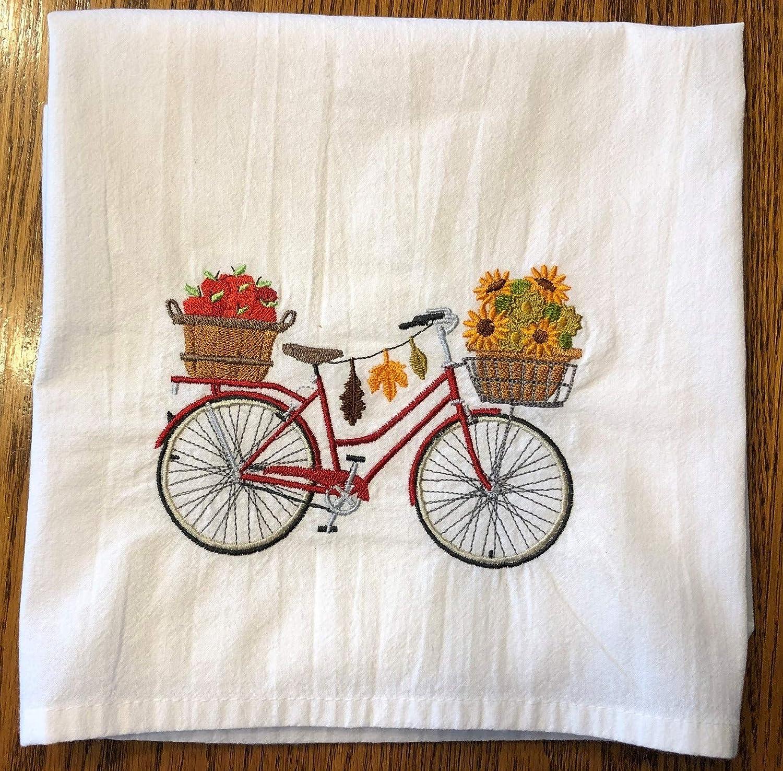 Happy Autumn embroidered flour sack towel