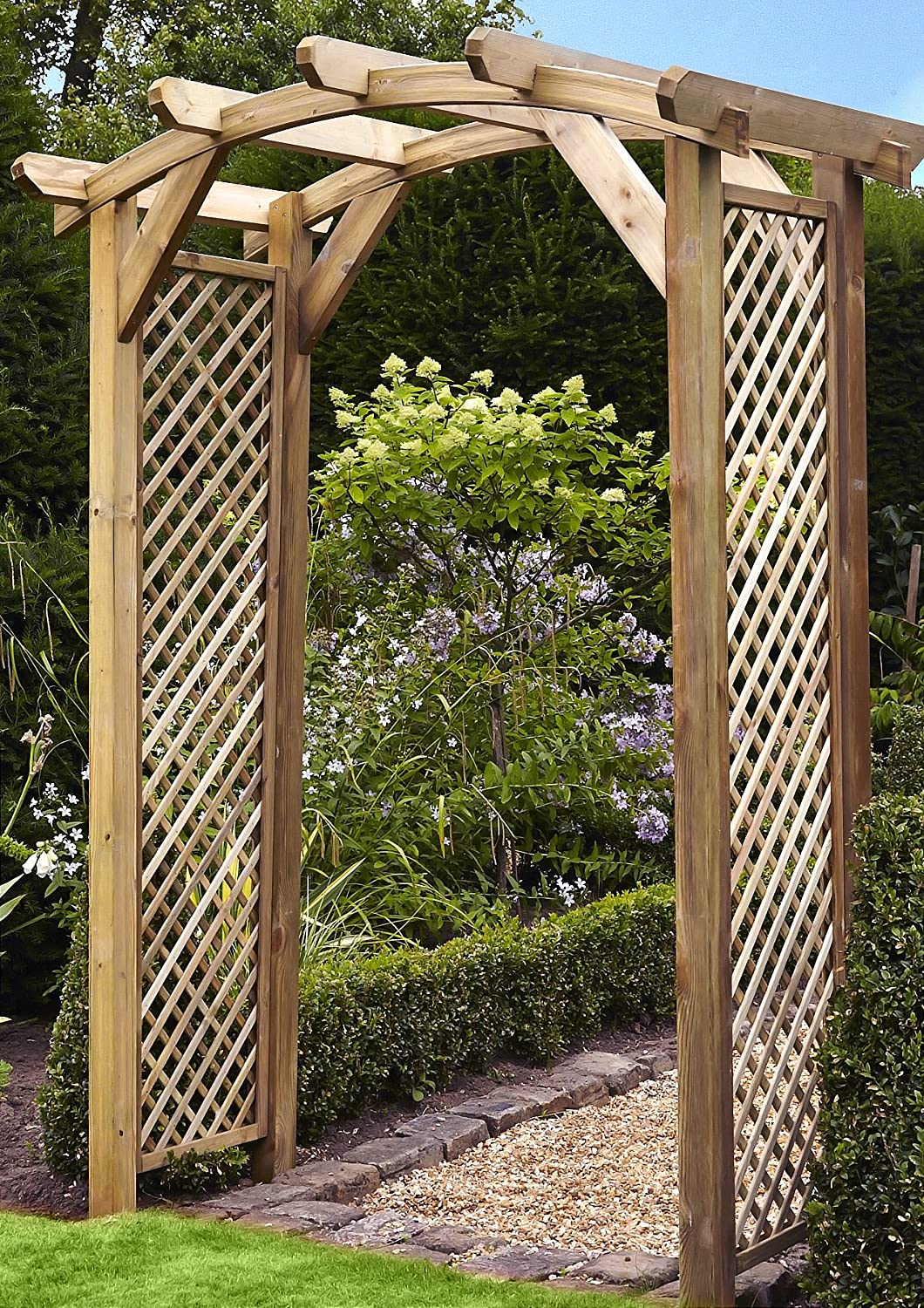 anchor fast curved lattice large wooden garden arch sale