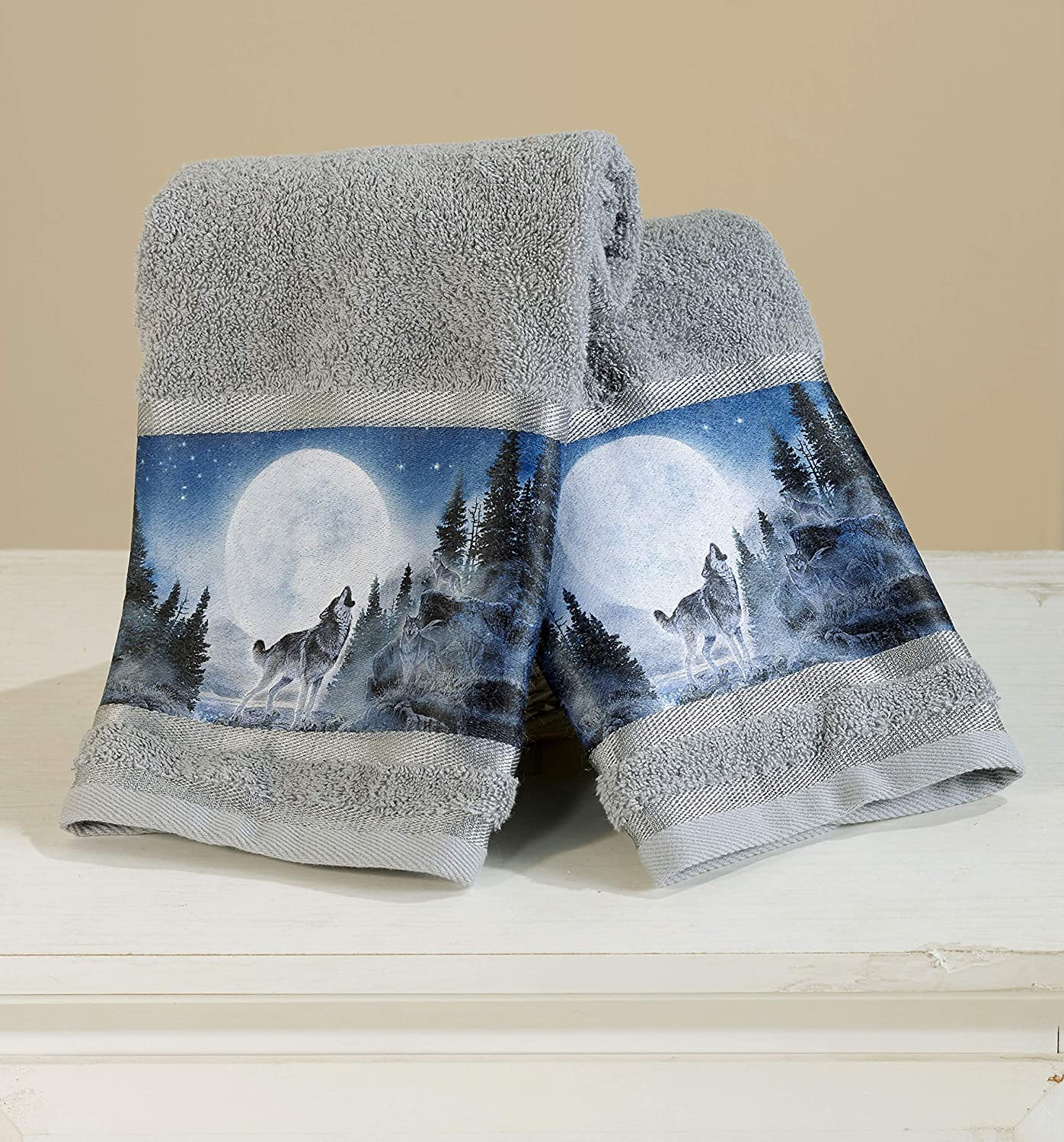 WOLF PACK BATHROOM COLLECTION`SET OF 2 HAND TOWELS CABIN-THEMED BATHROOM DECOR