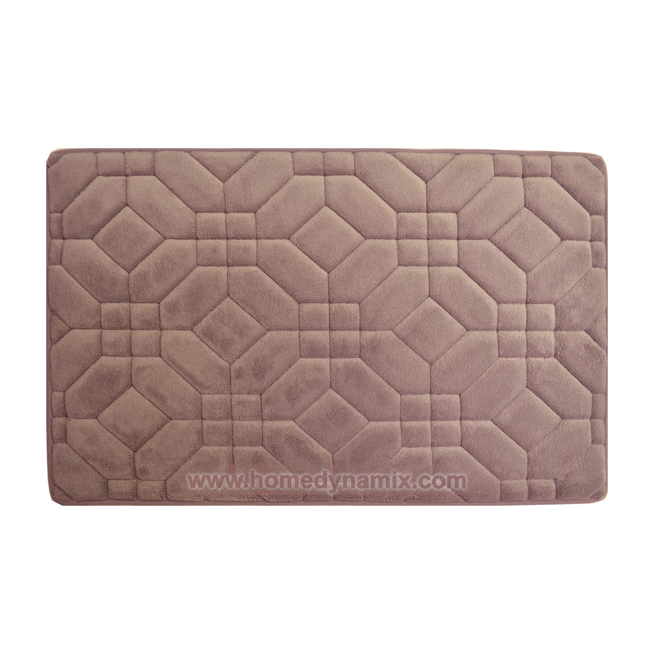 Dysty Mauve Memory Foam Bathroom Mat/rug : Day Spa Tiles Design, Soft and Absorbent, Non-skid Backing (20'' x 30'')