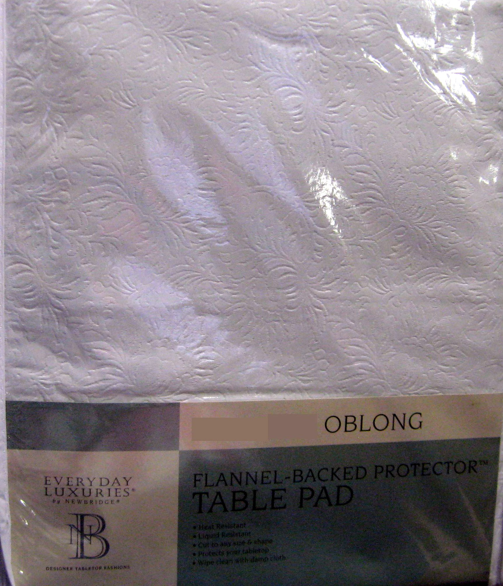 Table Pad Vinyl Flannel Backed Protector 52'' x 108'' Heat Resistant Cut to Size & Shape