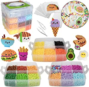 10,000pc DIY Fuse Bead Kit w Carrying Case - Fun Foods - 22 Colors, 12 Unique Templates, 4 Peg Boards, Tweezers, Ironing Paper, Case - Works w Perler Beads, Pixel Art Color by Numbers Craft Gift