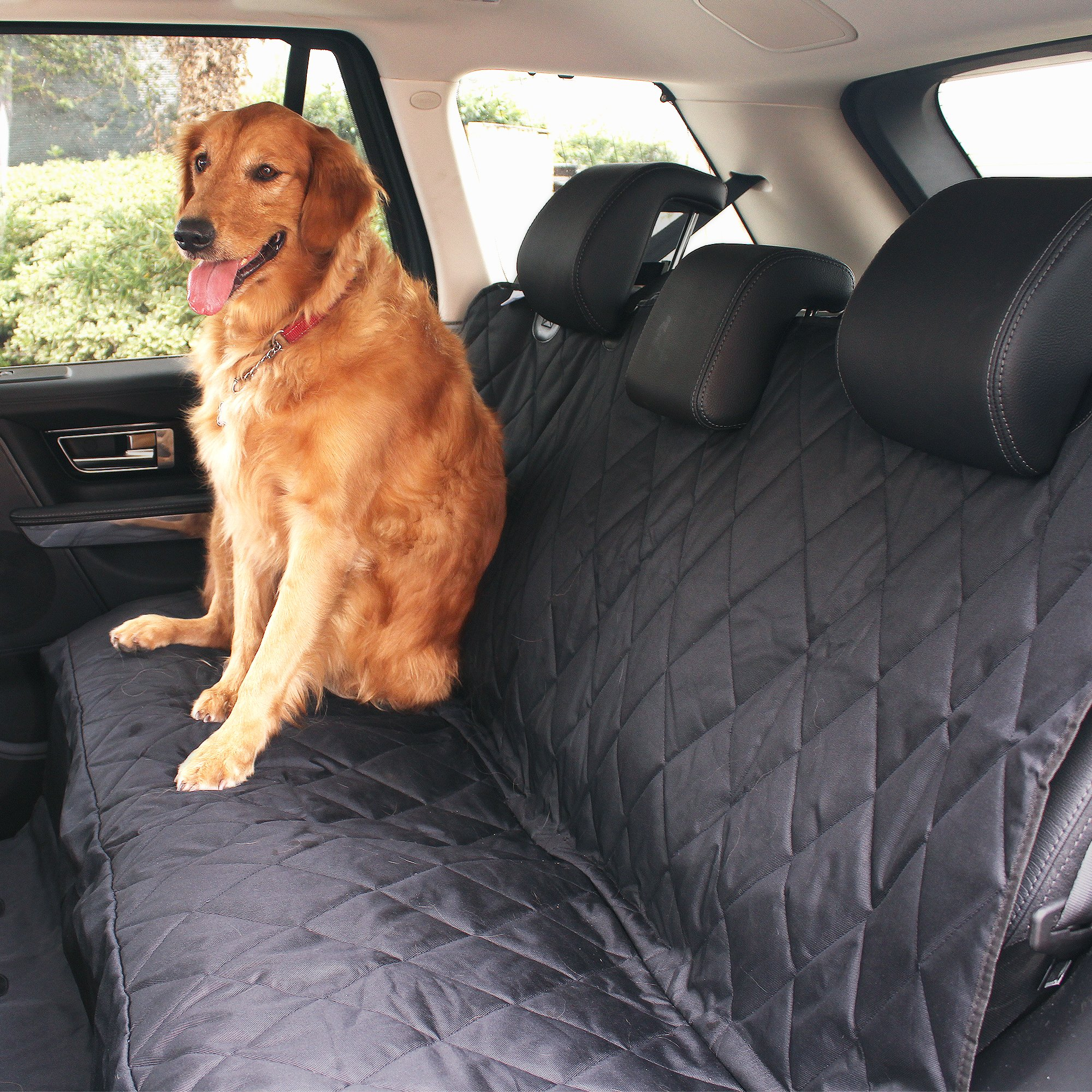 BarksBar Pet Car Seat Cover with Seat Anchors for Cars, Trucks and SUV's, Water Proof and Non-Slip Backing Regular, Black by BarksBar (Image #5)