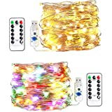 innotree LED String Lights, [2 Pack]100 LED USB Plug in Fairy String Lights, 8 Modes Warm White & Multi-Color Changing Copper Wire Lights with Remote, Twinkle Lights for Bedroom, Patio, Party