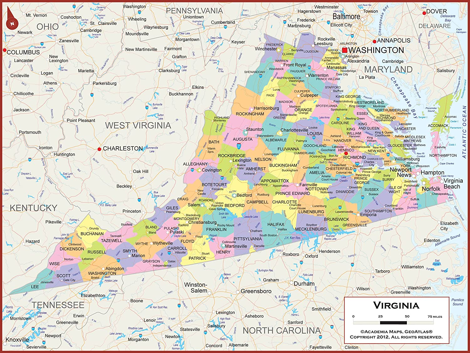 Amazon Com 60 X 45 Giant Virginia State Wall Map Poster With