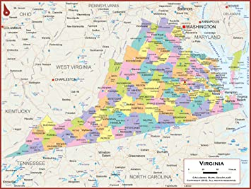 Amazon.: Academia Maps   Virginia State Wall Map   Fully