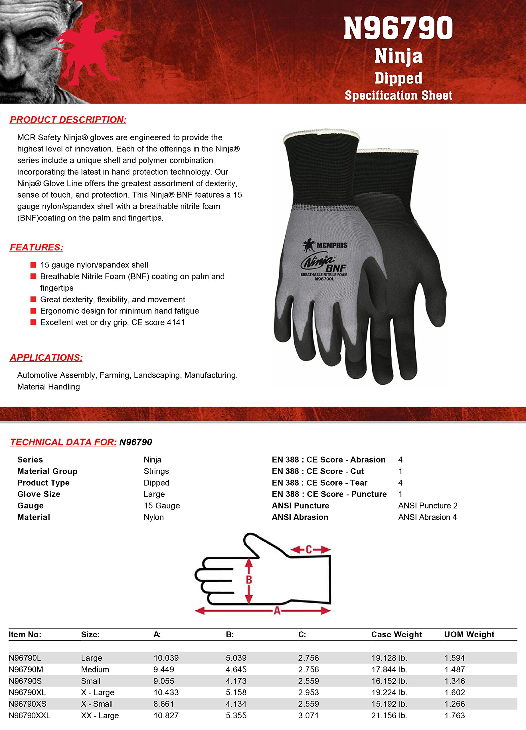 MCR Safety N96790XL Ninja BNF Nitrile Gloves, ANSI Puncture 2, Abrasion 4, 15 Gauge Nylon/Spandex Shell with BNF Palm & Fingertips, 1-Pair, X-Large