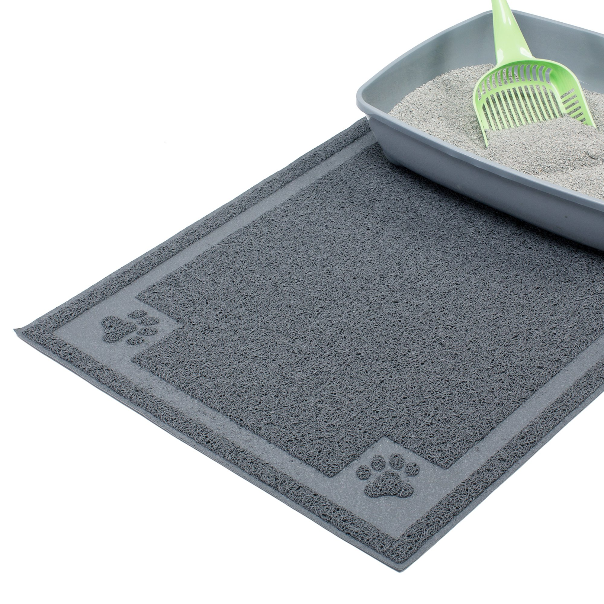 Cavalier Pets, Extra Large Dog Bowl Mat for Cats and Dogs, Silicone Non-Slip Absorbent Waterproof Dog Food Mat, Water Resistant and Easy to Clean, Unique Paw Design, 36 by 24 Inch, Grey by Cavalier Pets (Image #4)
