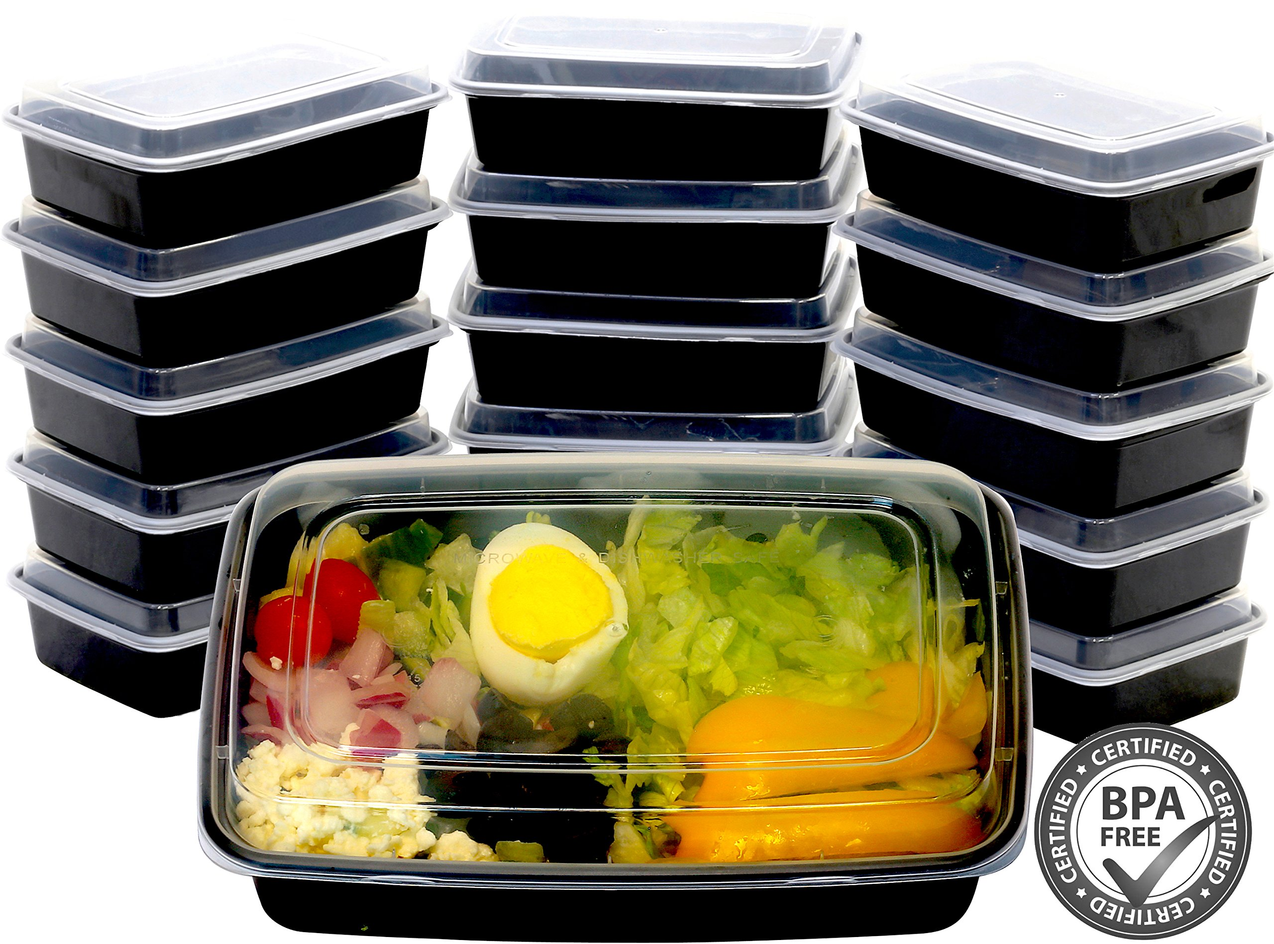 16 Pack - SimpleHouseware 1 Compartment Food Grade Meal Prep Storage Container Boxes, 28 Ounces