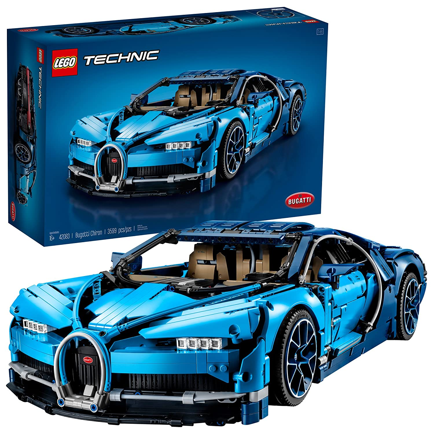 Lego Technic Bugatti Chiron 42083 Race Car Building Kit Veyron W16 Engine Diagram And Engineering Toy Adult Collectible Sports With Scale Model 3599 Piece