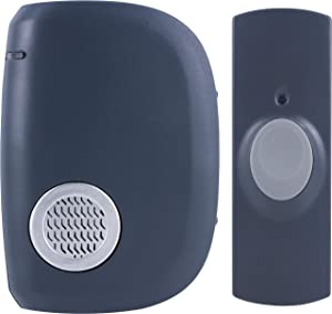 GE Battery Operated Wireless Portable Doorbell Kit, 8 Melodies, 1 Clip-on Receiver, 1 Push Button, 150 Ft. Range, Mountable, Gray, 19240