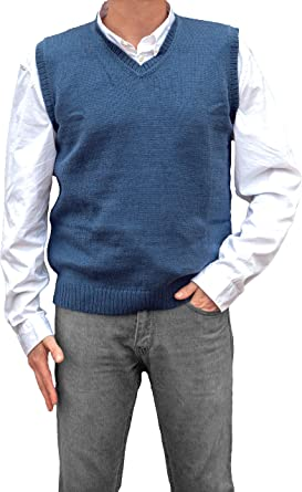 TINKUY PERU 100/% Alpaca Mens V-Neck Cable Knit Sweater Steel Blue Button Up Vest