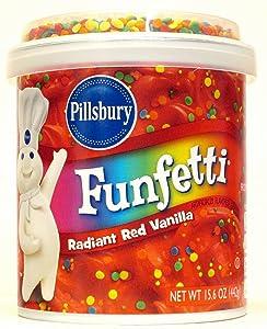 Pillsbury Radiant Red Vanilla Funfetti Frosting (Pack of 2) 15.6 oz Tubs
