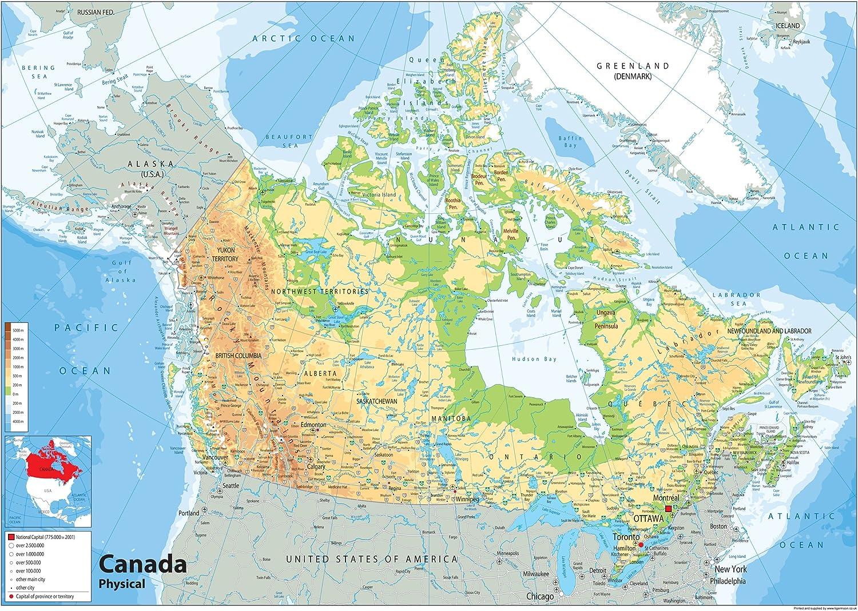 Canada Cartina Fisica.Canada Mappa Fisica Carta Plastificata Ga A2 Size 42 X 59 4 Cm Amazon It Cancelleria E Prodotti Per Ufficio