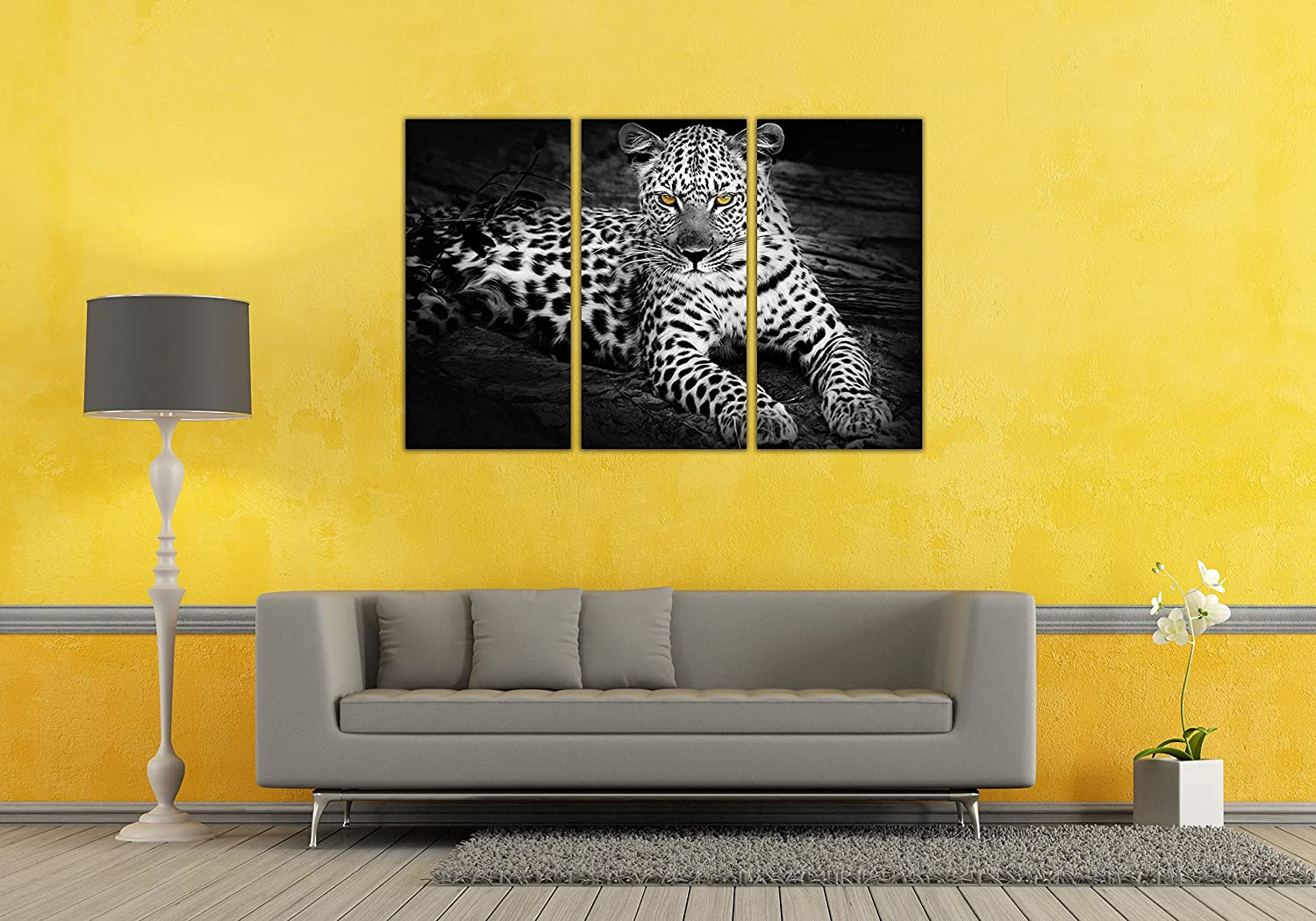 Amazon.com: 3 Panel Black and White Leopard/Cheetah Wall art ...