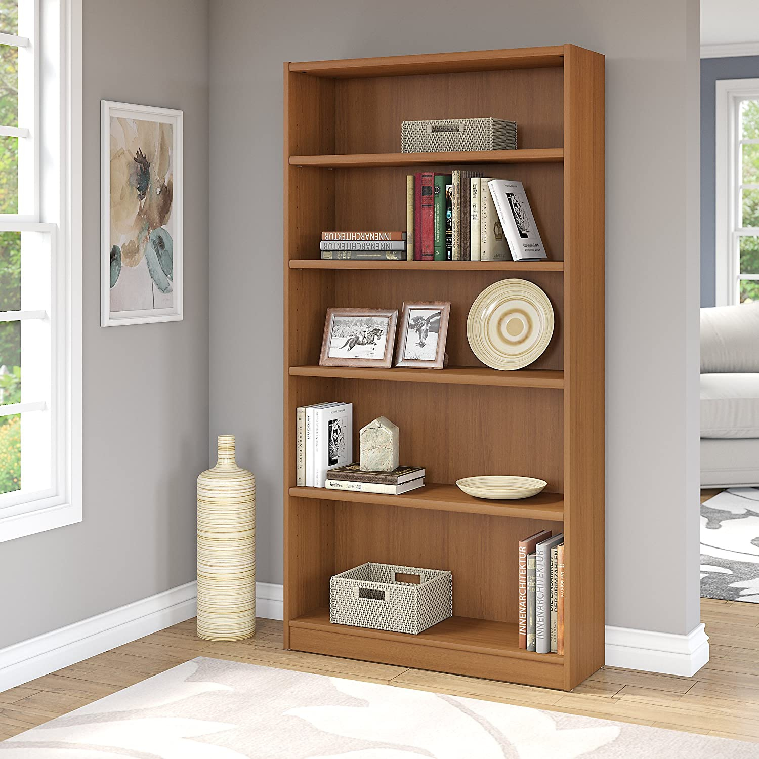 Bush Furniture Universal 5 Shelf Bookcase in Royal Oak