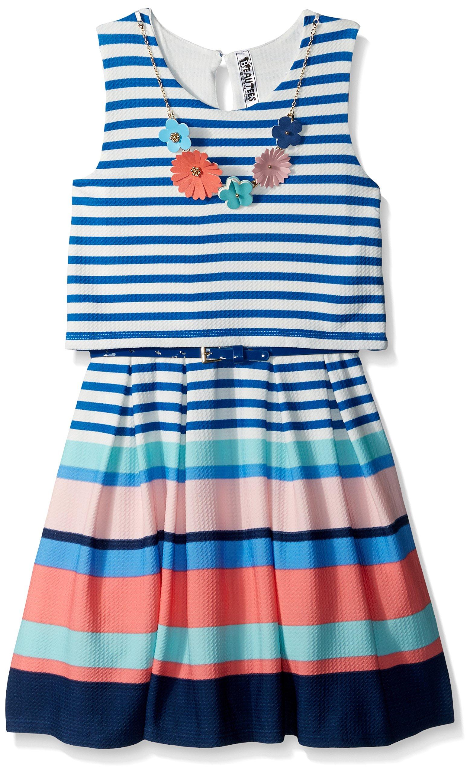Beautees Big Girls' Sleeveless Multistripe Skater Dress, Blue, 7