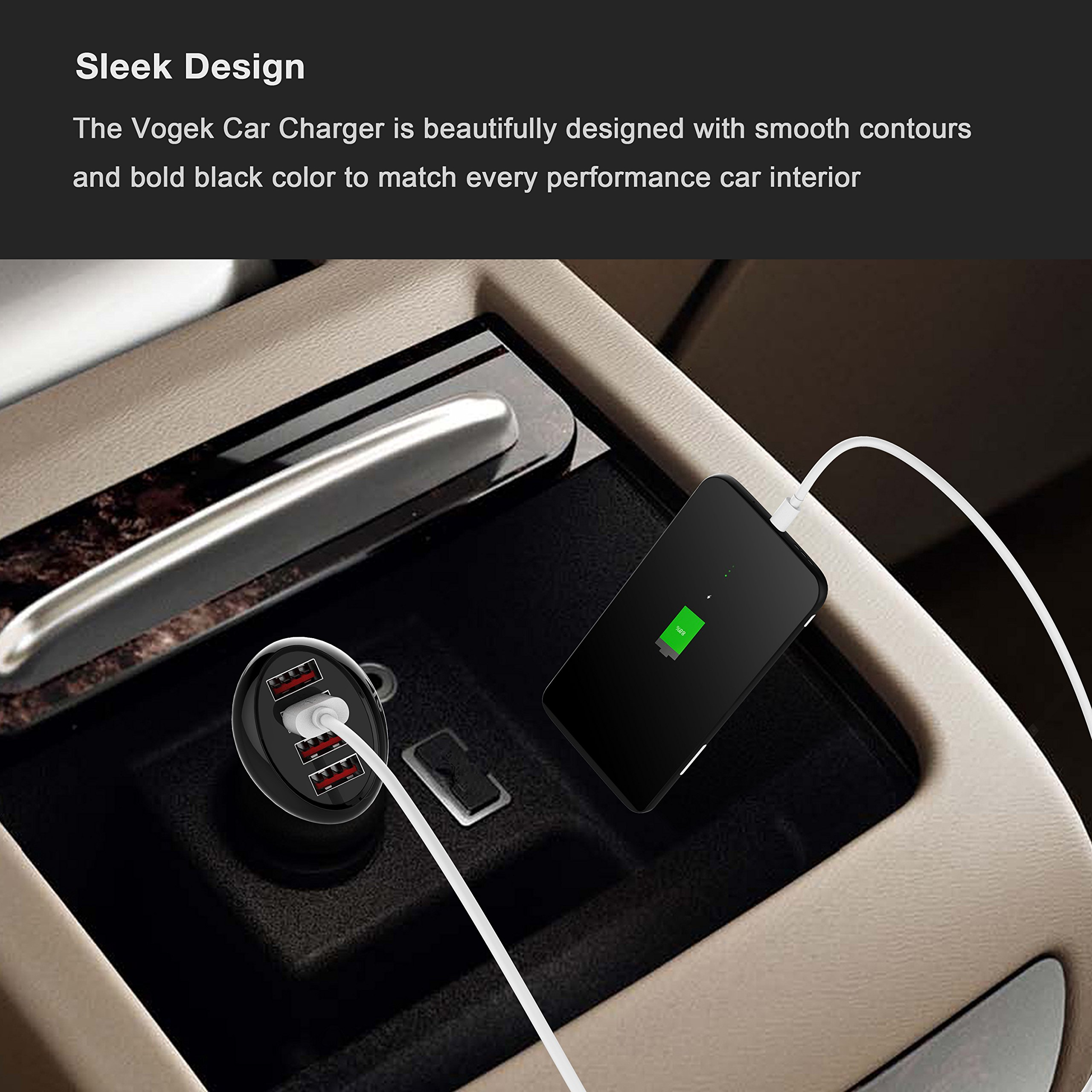 Car Charger, Vogek 50W 10A 4-Port USB Car Charger with Smart Identification for iPhone X, 8, 7 / 6s / Plus, iPad Pro/Air 2 / mini, Galaxy S8 /S7 / S6 / Edge/Plus, Note 5/4 - Black by Vogek (Image #6)