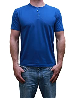 ecedcb2b Makkrom Mens Basic Short Sleeve Henley Shirts V Neck Slim Fit Cotton ...