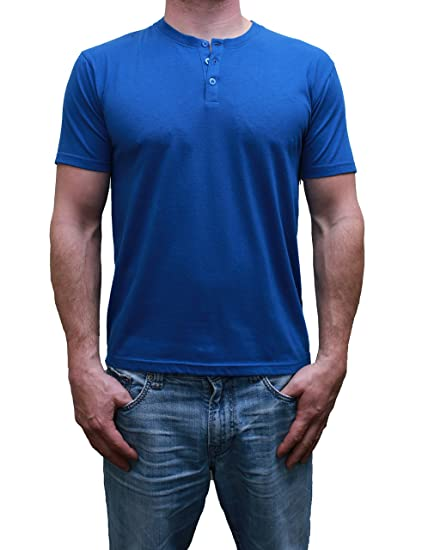 64e88d430f6f Henley Mens Short Sleeve TShirt with 3 Buttons, Solid Classic Blue, Small