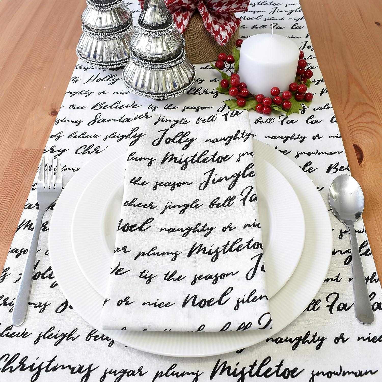 The White Petals FA La La Off-White, 20x20 inch, Pack of 6 Cloth Napkins Mistletoe Christmas Table Napkins with Jingle Bells