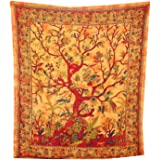Handicrunch Tree of Life Bedspread Coverlet Orange Oriental India Decor Cotton Wall Art Bed Couch Sofa Cover