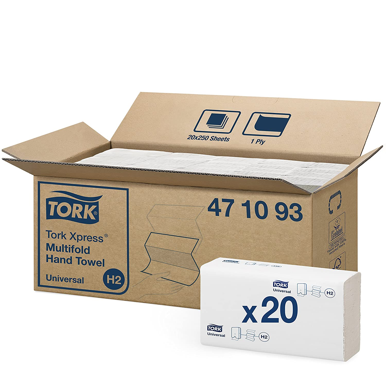 Tork 600289 Toallas de mano Tork Xpress / Toallitas Advanced multifold suaves y absorventes compatibles con el sistema de Tork H2, blanco brillante SCA 500289