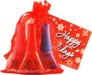 Bo-Po Polish Non-Scented Holiday Pack with Red Gift Bag (3 Piece)