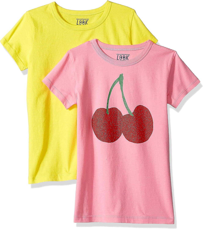 tinta unita//stampa confezione da 2 pezzi LOOK by crewcuts Maglietta a maniche corte da ragazza Crew Marchio  // J