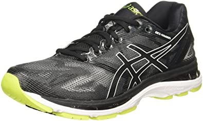 3aaae1491a47ca ASICS Men s Gel-Nimbus 19 Black Glacier Grey Energy Green Running Shoes -
