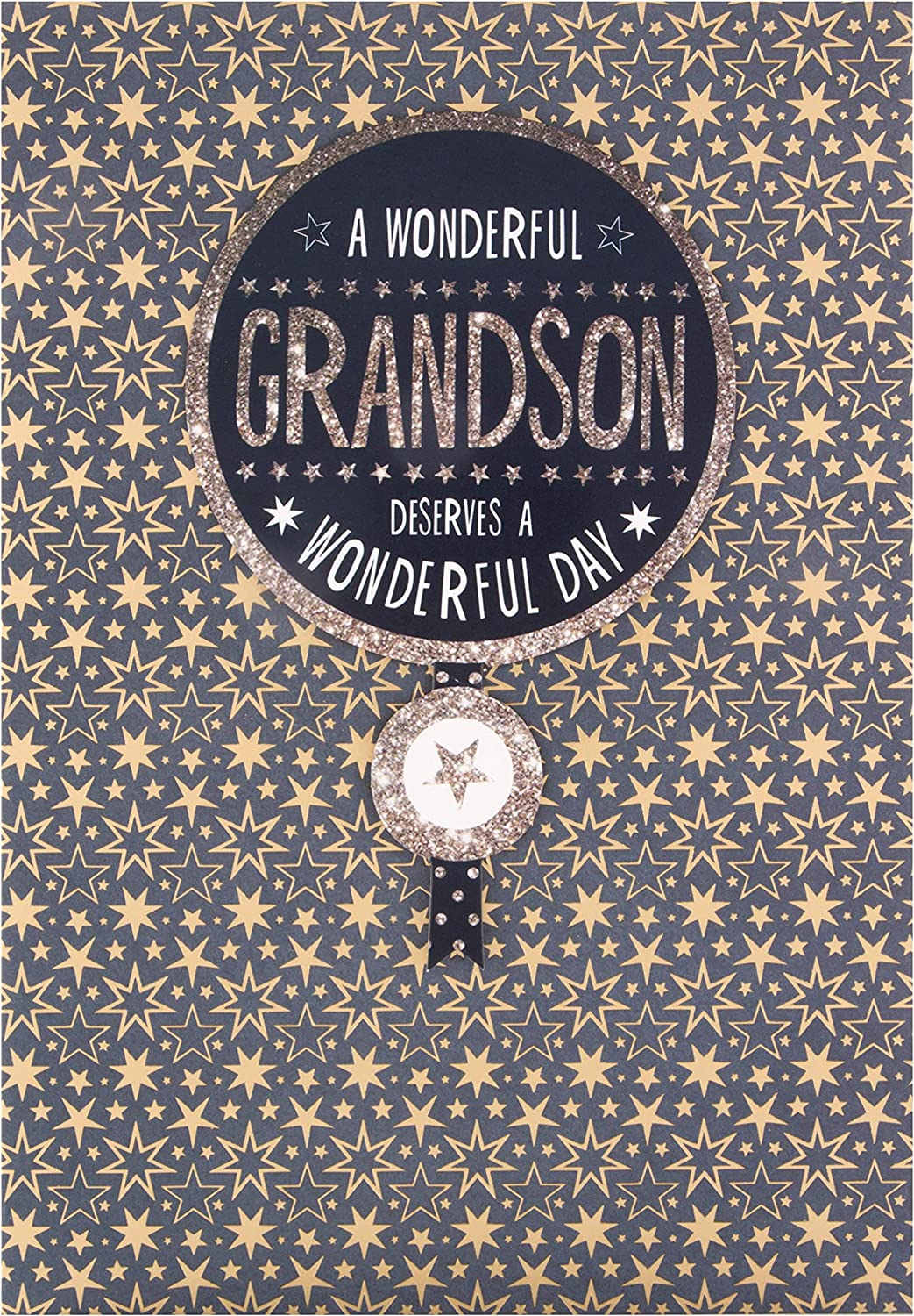 3D Tag and Gold Stars Design Birthday Card for Grandson from Hallmark
