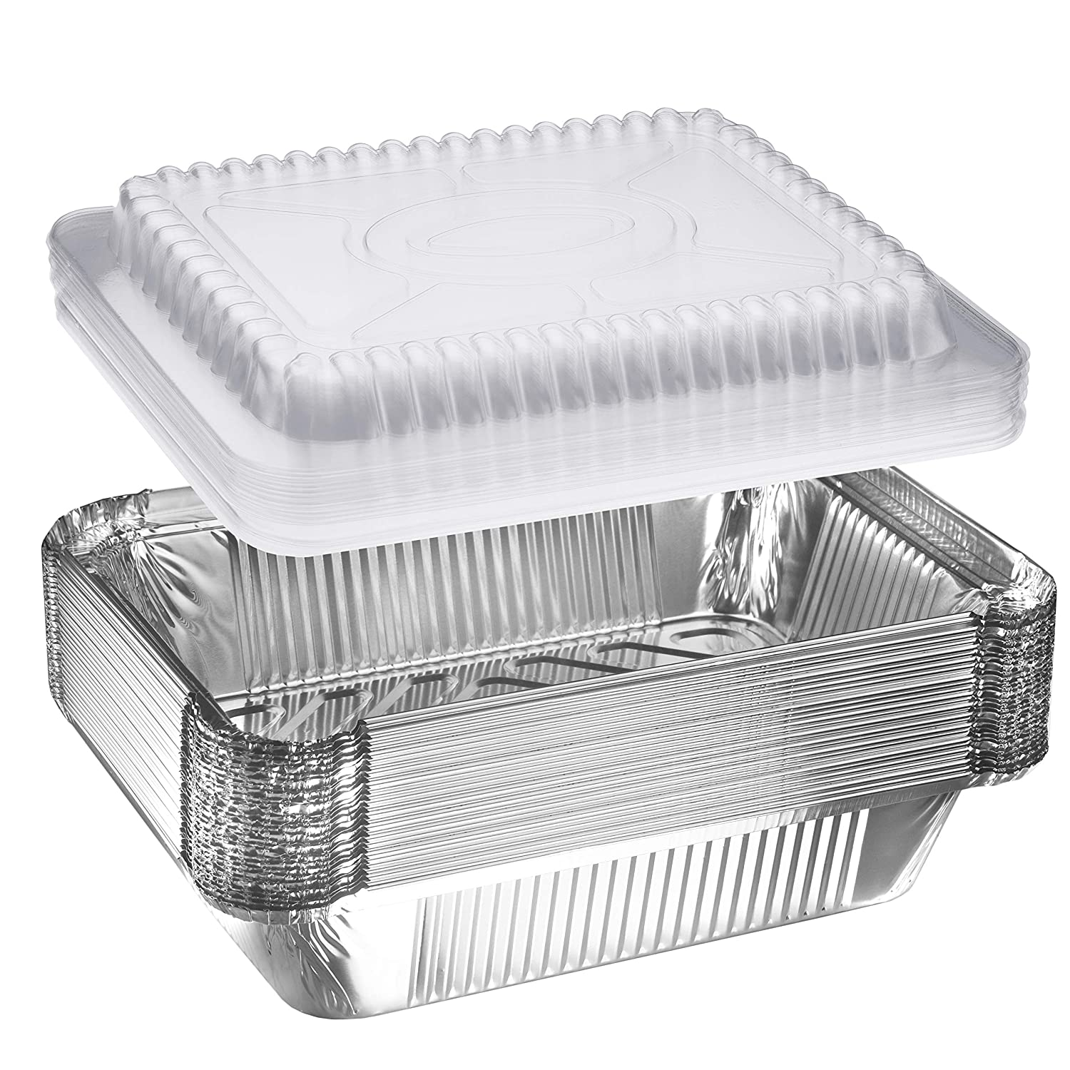 "NYHI 30-Pack Heavy Duty Disposable Aluminum Oblong Foil Pans with Plastic Covers Recyclable Tin Food Storage Tray Extra-Sturdy Containers for Cooking, Baking, Meal Prep, Takeout - 8.4"" x 5.9"" - 2.25lb"