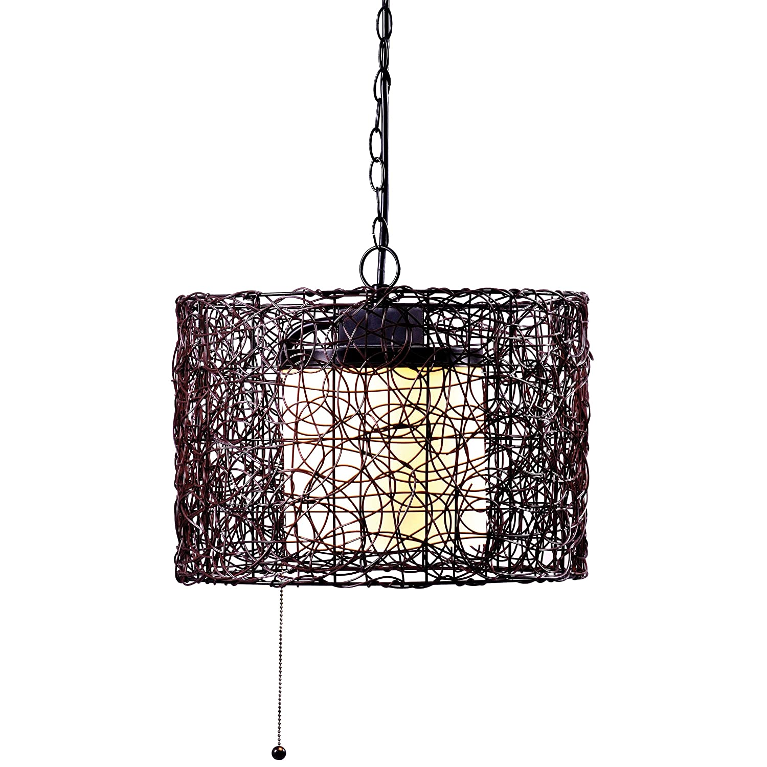 Kenroy Home 93393BRZ Tanglewood 1-Light Outdoor Pendant, Blackened ...