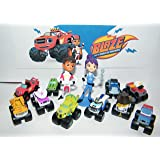 Blaze and the Monster Machines Figure Set of 13 Mini Figures including Blaze, AJ, Stripes, Zeg the Dinosaur Truck, Crusher and Many More!