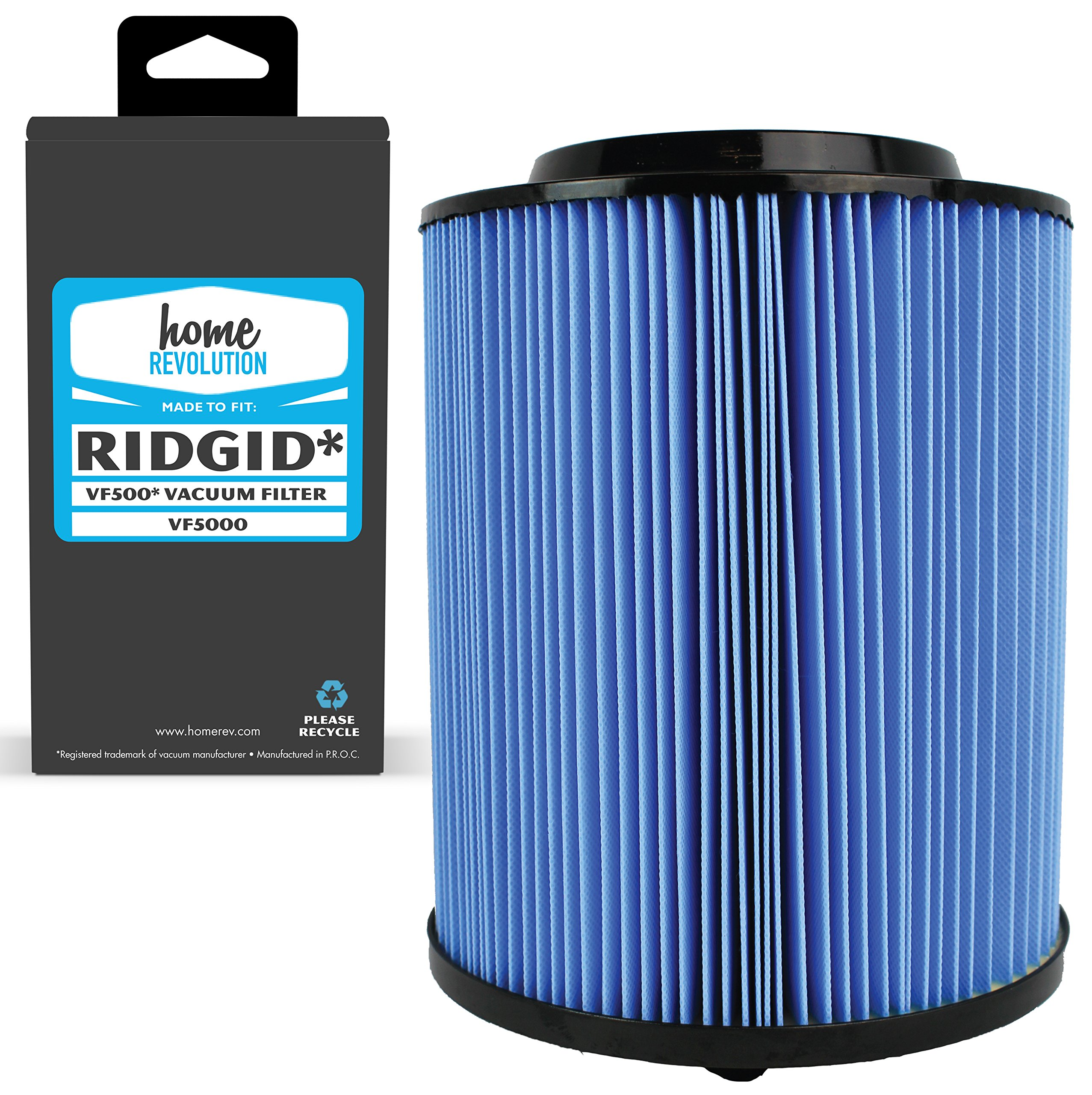 Home Revolution Replacement Shop Vac Cartridge Filter, Fits Rigid 6-20 Gallon Wet & Dry Vacuums and Part VF5000