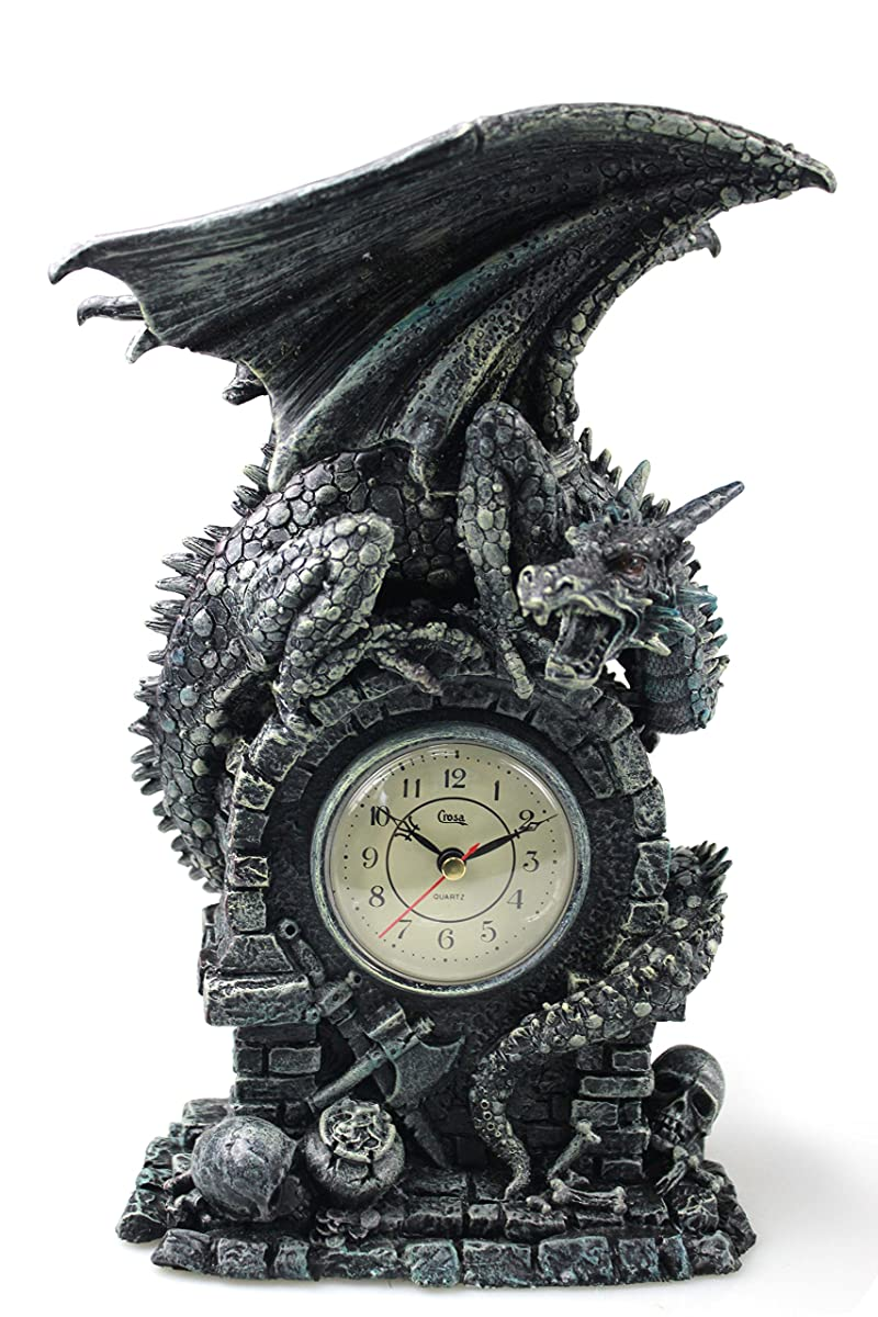 """Antique Desk Clock Vintage Style, 13"""" Decorative Gothic Dragons Sculpture Table Clock, Heavy Duty Antiqued Medieval Winged Dragon Statue Art Living Room Clock"""