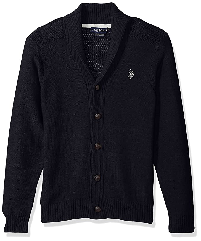 COOFANDY Mens Shawl Collar Cardigan Sweater Slim Fit Merish Aran Button Down Cable Knitted Sweater with Pockets
