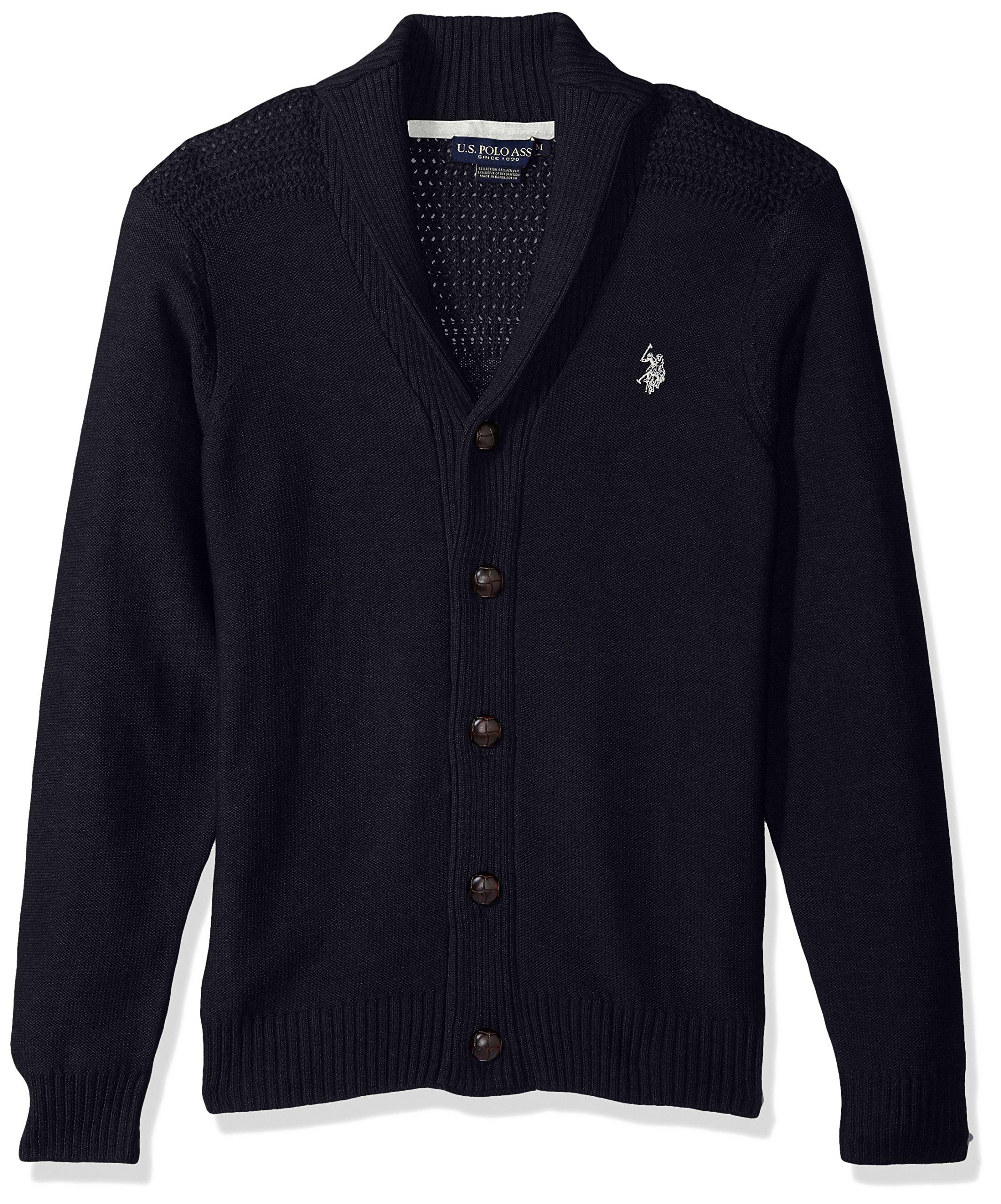 U.S. Polo Assn. Men's Reverse Jersey Shawl Collar Cardigan, Navy, X-Large