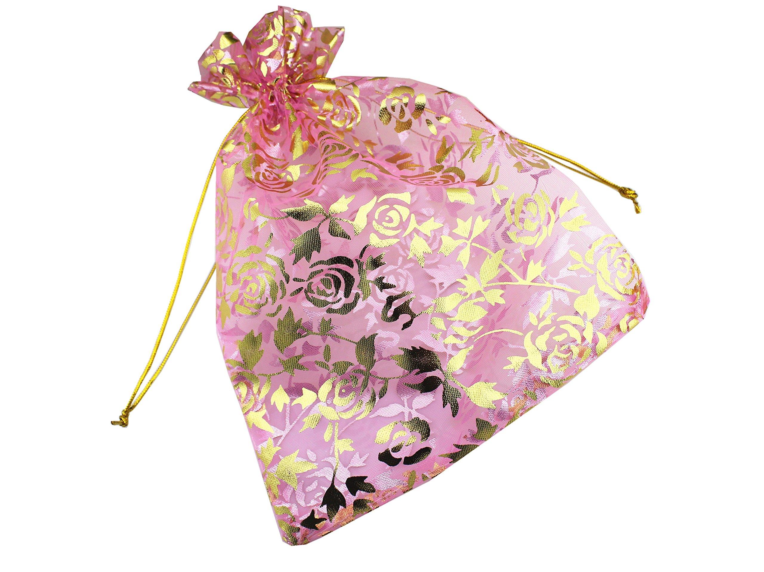 QIANHAILIZZ 8 x 12 Inch 100 Drawstring Heart Flower Bags Organza ...