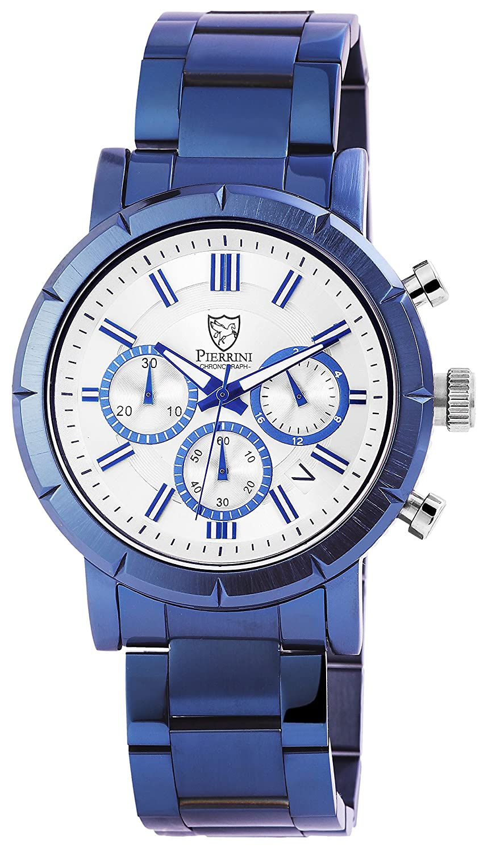 Pierrini Herren Armbanduhr Edelstahlband Chronograph Quarz Blau 291092500004