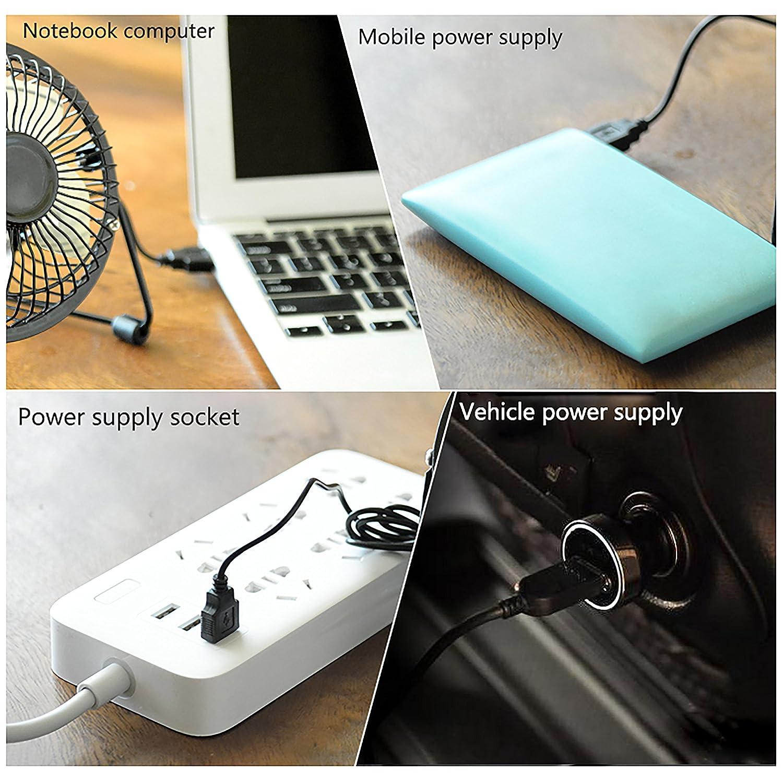 Mini Ventilador de Metal Silencioso 6 Inch Ahorro de Energ/ía para Oficina Cama Dormitorio Escritorio QH-Shop Ventilador USB