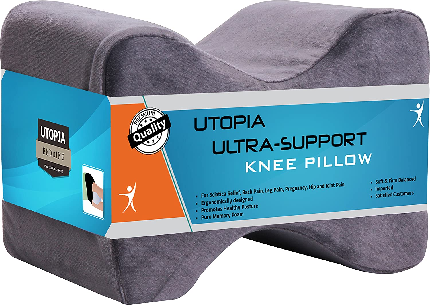 Utopia Bedding Orthopedic Contoured Memory Foam Knee Pillow - for Sciatic Back Pain - Removable...